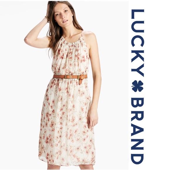 1f45742d736f Lucky Brand Dresses | Carmen Neutral Chiffon Floral Dress L | Poshmark